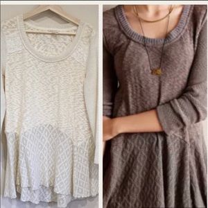 Anthro Meadow Rue Ivory Crochet Hi Low Sweater S